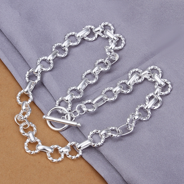 925 sterling silver jewelry choker fine fashion thick circle links TO clasp necklace chains for men women chokers necklaces N340