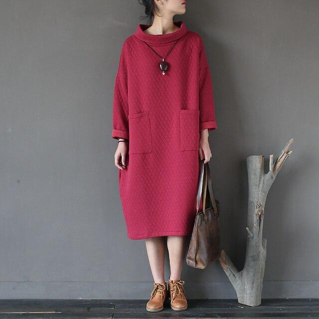 f165cd418b2 Осень-зима платье Для женщин хлопковая стеганая толстые теплые платья  Винтаж Большие размеры Свободные повседневные