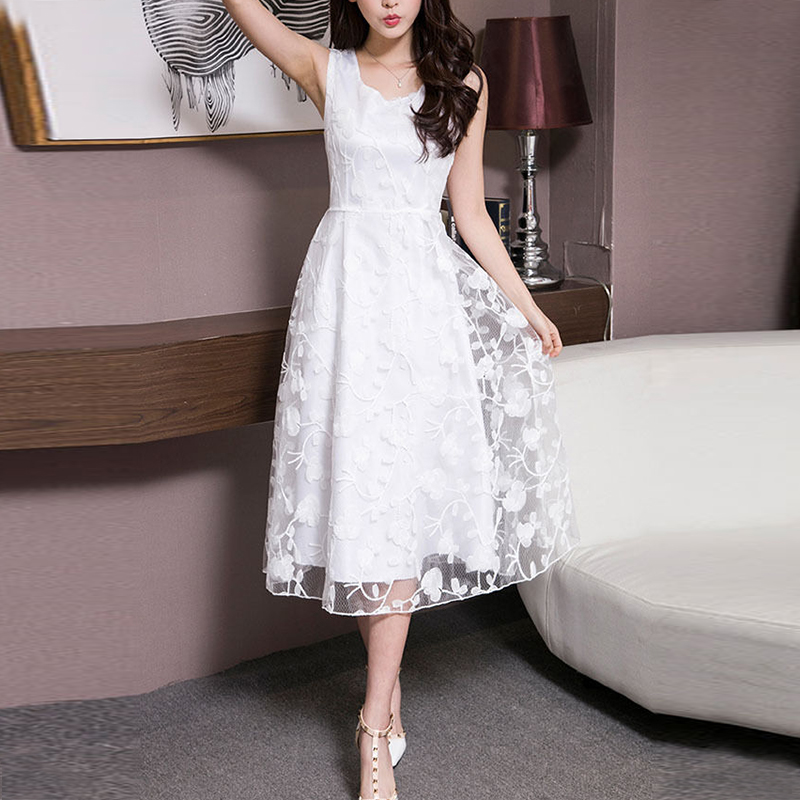 2018 Summer Women Organza Dress Long Sleeve Back Zipper Lace Pleated Dress Female Party Ball Gown Floral Printed Vintage Vestido