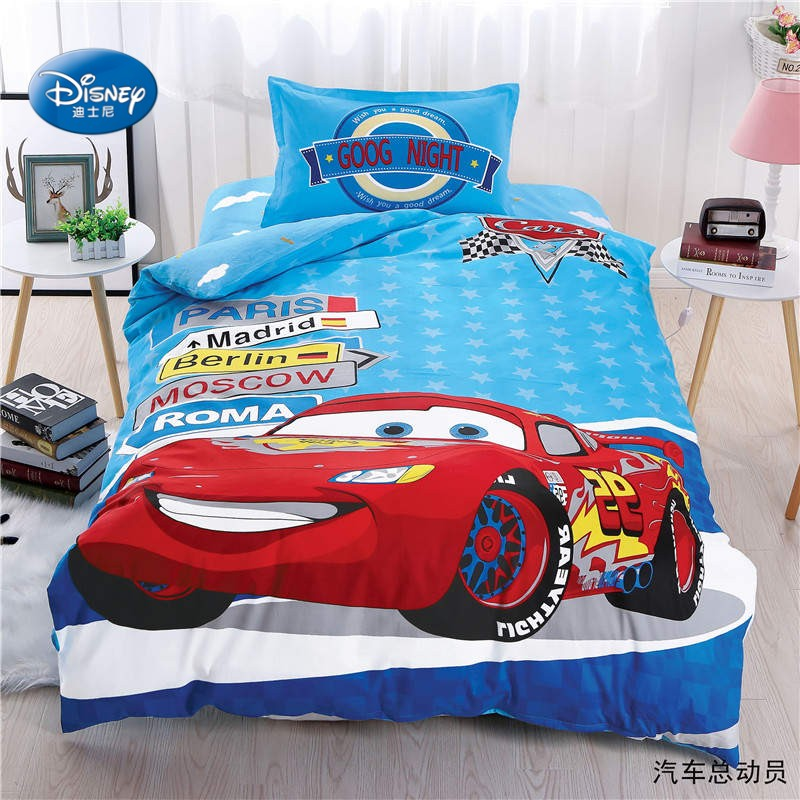 Lightning Mc Queen Car Bedding Set Twin Size Duvet Cover Set for Kids Bedroom Decor Bed