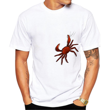 2017 Newest Fashion Printed Design Funny crab T Shirt Fashion Men's Hipster Fitness T-shirts Summer Brand Clothing Tops Tees
