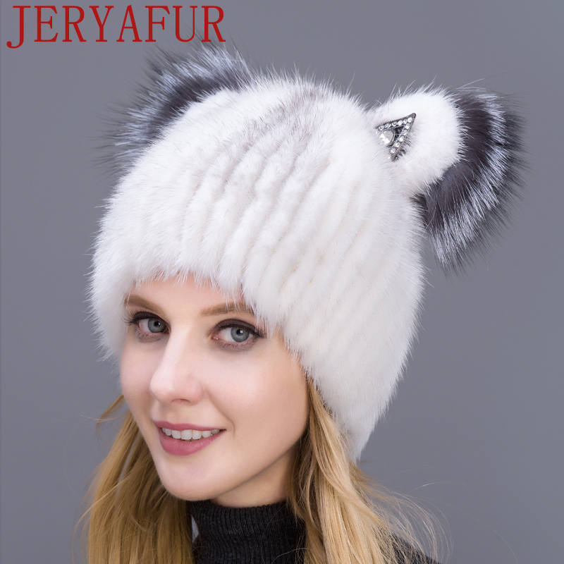 432a29142 Russian Fashion Fur Hat Mink Fur Hat Fox Fur Decoration Knitted Wool Hat  Winter Warm Cat Cute Hat