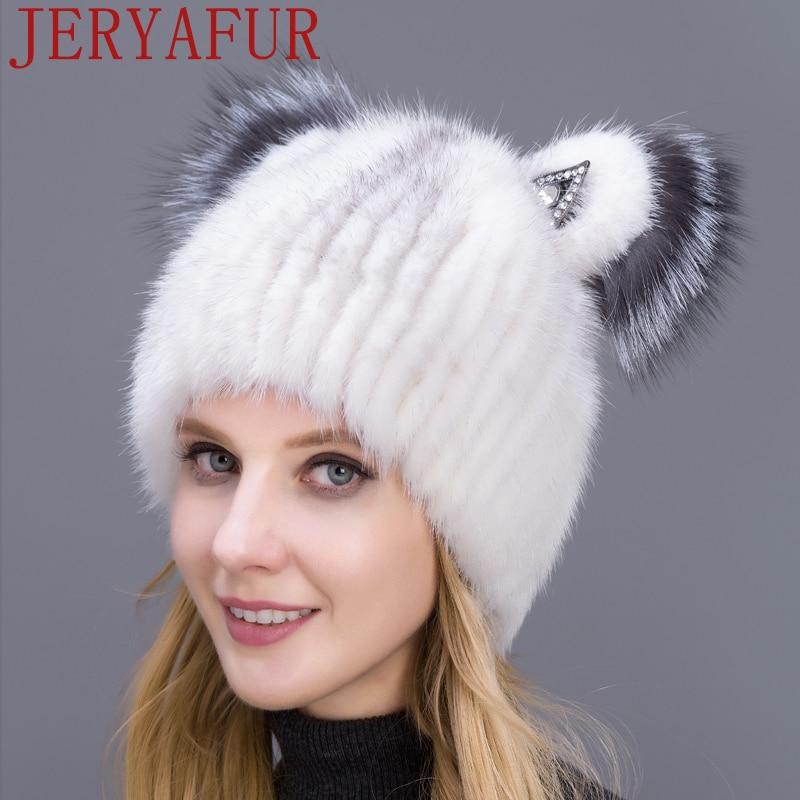 Russian Fashion Fur Hat Mink Fur Hat Fox Fur Decoration Knitted Wool Hat Winter Warm Cat Cute Hat