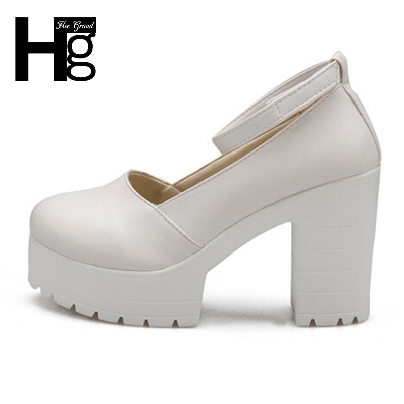 HEE GRAND Buckle Platform Thick High Heels Square Heels Pumps Spring Summer Mary Janes Ladies Shoes Woman DWD2596 xiaying smile woman pumps shoes women mary janes british style fashion new elegant spring square heels buckle strap rubber shoe