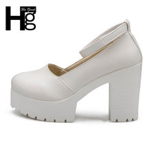 HEE GRAND Buckle Platform Thick High Heels Square Heels Pumps Spring Summer  Mary Janes Ladies Shoes Woman DWD2596 183e0eba08e8