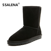 2018 Brand Men Winter Shoes Unisex Warm Mid Calf Snow Boots Couple Plush Fur Soft Suede Leather Boots Shoes EU 33-44B2731