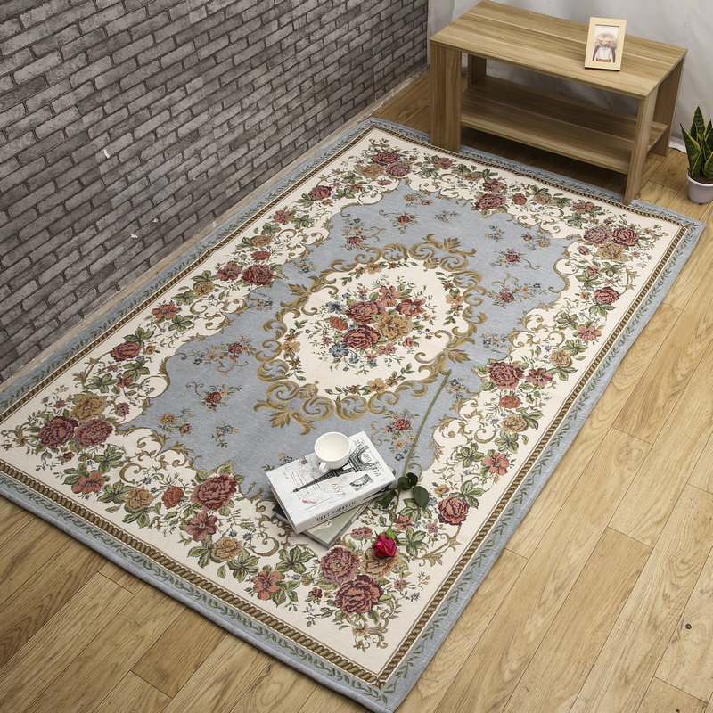 European and American Style Non-Slip Jacquard Carpet Modern Pattern for Living Room Bedroom Prited on Special Floral Decoration