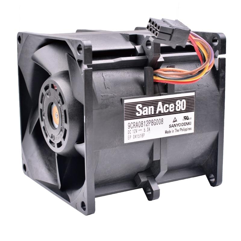 COOLING REVOLUTION 9CRA0812P8G008 8cm 80x80x80mm 12V 5.3A car booster violence powerful server cooling fans