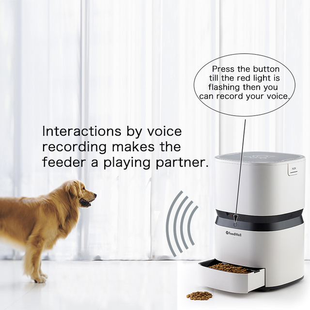 8L Smart Feeder Automatic Food Dispenser for Cats and Dogs Large Capacity with Voice Recorder and Timer Programmable Dog Bowl