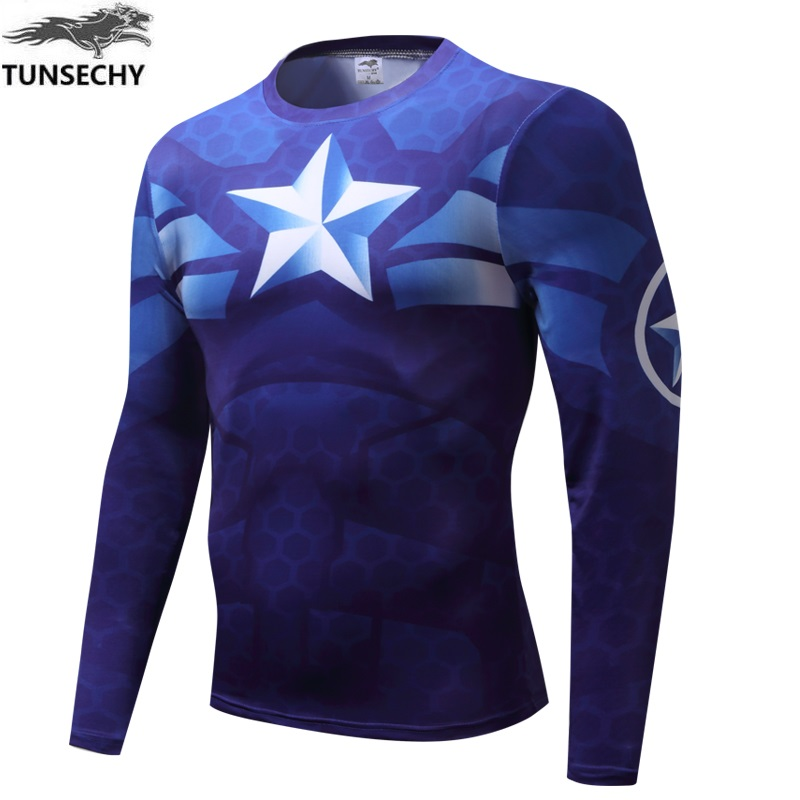 TUNSECHY 2018 Captain America Digital printing round neck long sleeve design t-shirts wholesale and retail free shipping