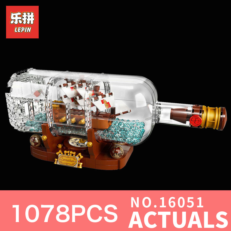 все цены на Lepin 16051 Pirates of the Caribbean Pirates Series 1078Pcs bottles in the boat Building Blocks Bricks DIY toys 21313 for kids