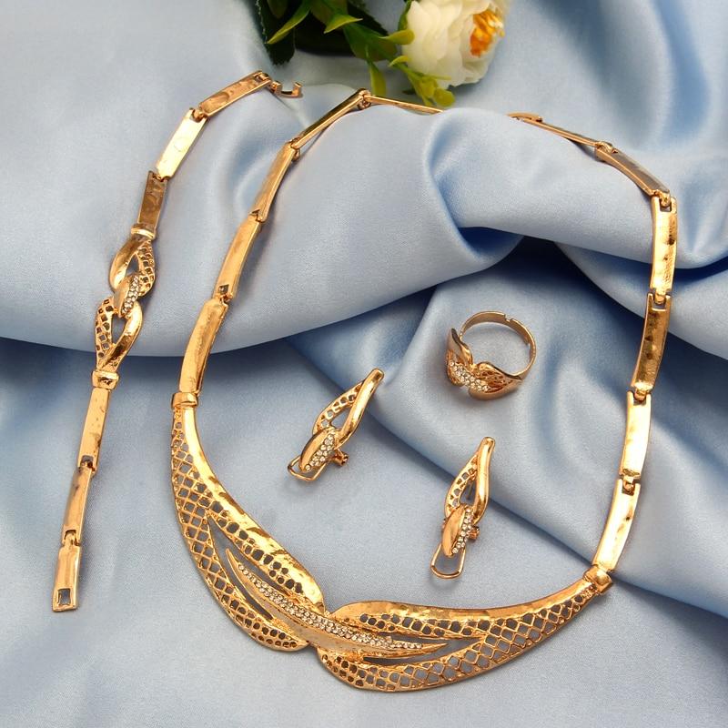 amazing price Dubai Jewelry Sets Crystal Necklace Bracelet Earrings Ring Nigerian Wedding Party Women Fashion Jewelry Set