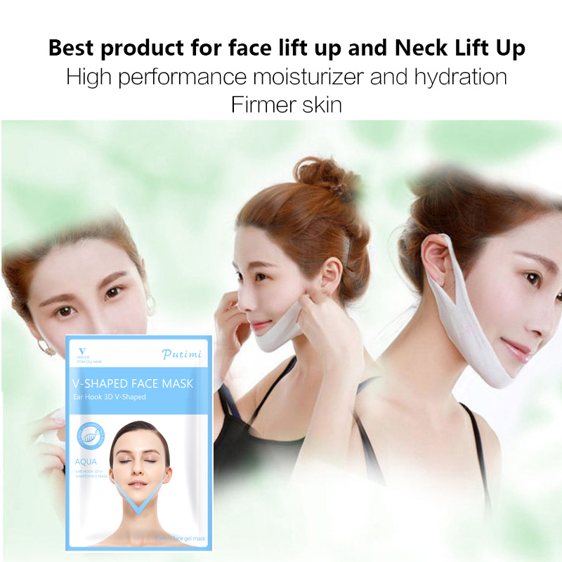 5Pcs Firming V Face Mask Double V Face Hanging Ear Face Paste Hydrogel Mask Lifting Firming Thin Masseter Band Double Chin Mask