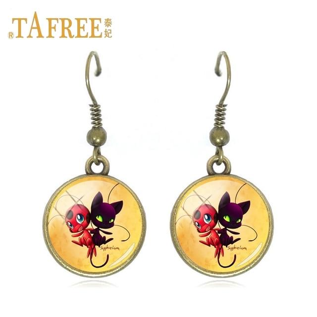 Tafree Cute Cartoon Character Ladybug Gl Hot Earrings Fashion Simple Hotent Decoration Drop Jewelry Lb132