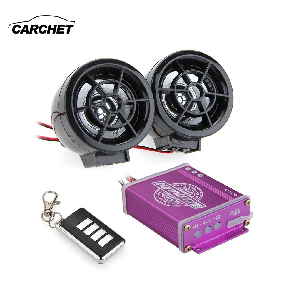 CARCHET Universal Waterproof Motorcycle Audio FM TF MP3 Speakers Alarm Sound Remote System Anti-Theft Protection 125dB
