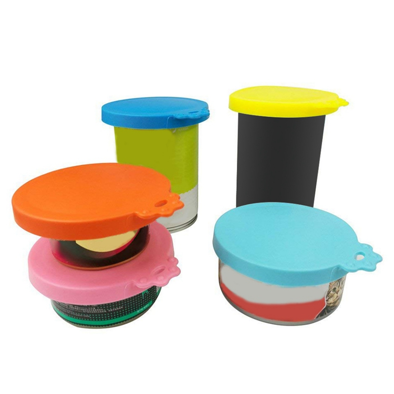 Reusable Silicone Pet Food Lids Feeder Food Can For Dog Cat Food Storage Cover Lid Water Feeding Bowl Cover Portable Pet Product