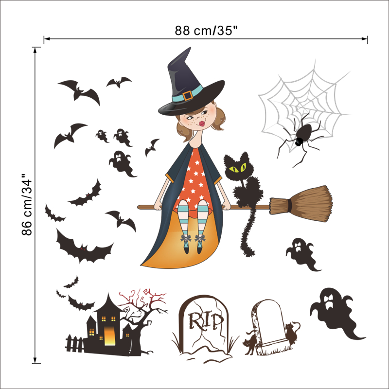 Aliexpress.com : Buy Bats Spider Cat Grave Ghost Witch Wall Stickers  Halloween Decoration Home Decals Diy Festival Mural Art Posters Kids Gift  From Reliable ... Part 87