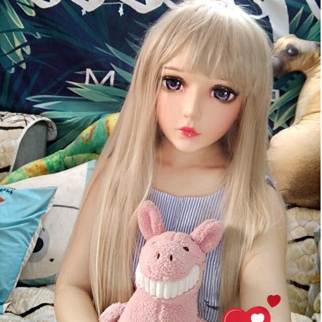 (Yan-06) femme Douce Fille De Résine Demi-Tête Kigurumi Masque Avec BJD Yeux Cosplay Japonais Anime Rôle Lolita Masque Crossdress Poupée