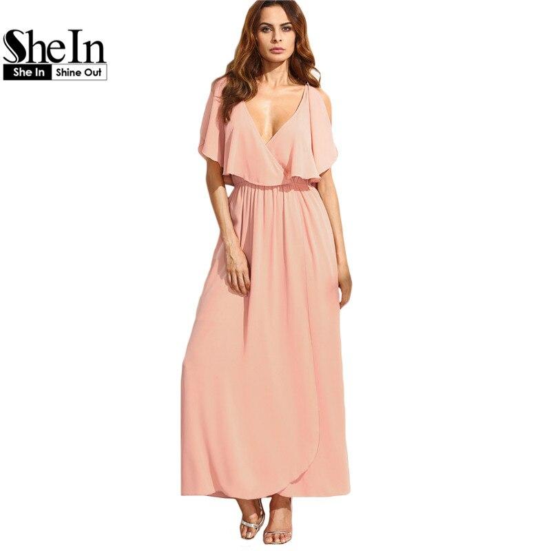 V Neck Flounce Plain Half Sleeve Maxi Dresses
