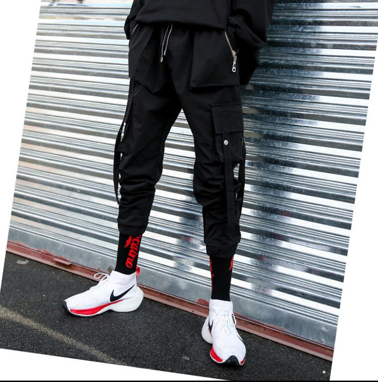 M-XXXL 2018 new hair stylist personality overalls trousers hip hop men's loose casual harem pants plus size