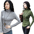 Autumn Women T-shirt Plus Size S-4XL Turtle Neck Female T shirt Long Sleeve Casual Irregular Fashion Woman Tshirt Tops 31970
