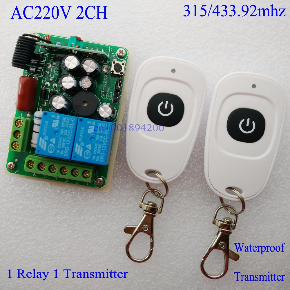 220V 2CH wireless switch  system Radio Wireless Receiver with Buzzer&Transmitter Learning Code Toggle Momentary Latched adjusted wireless pager system 433 92mhz wireless restaurant table buzzer with monitor and watch receiver 3 display 42 call button