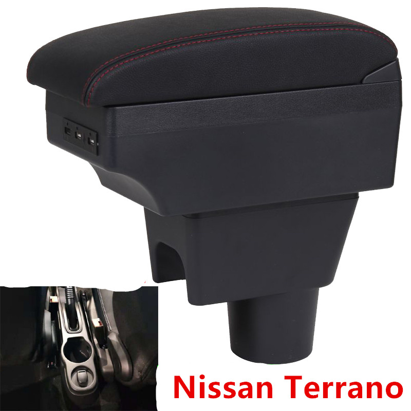 For NISSAN TERRANO Car Armrest Box Interior Accessories Chargeable USB Nissan Terrano Modified Hand Box Double Layer Punch Free