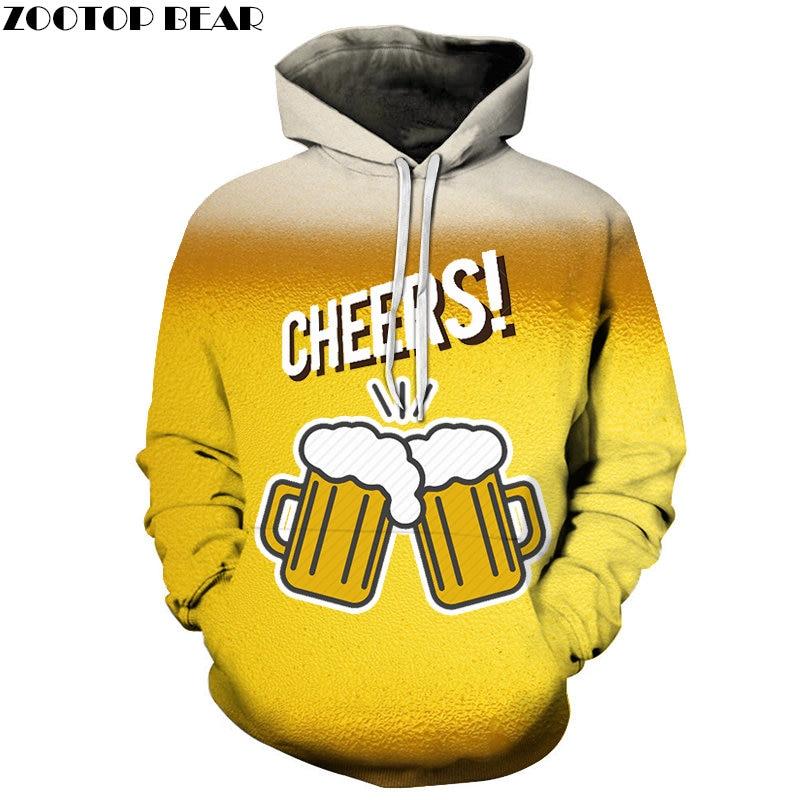 Yellow Cup Cheers 3D Printed Spring Casual Hoody Sweatshirts Men Tracksuit Hoodies Pullover Streetwear Coat DropShip ZOOTOPBEAR