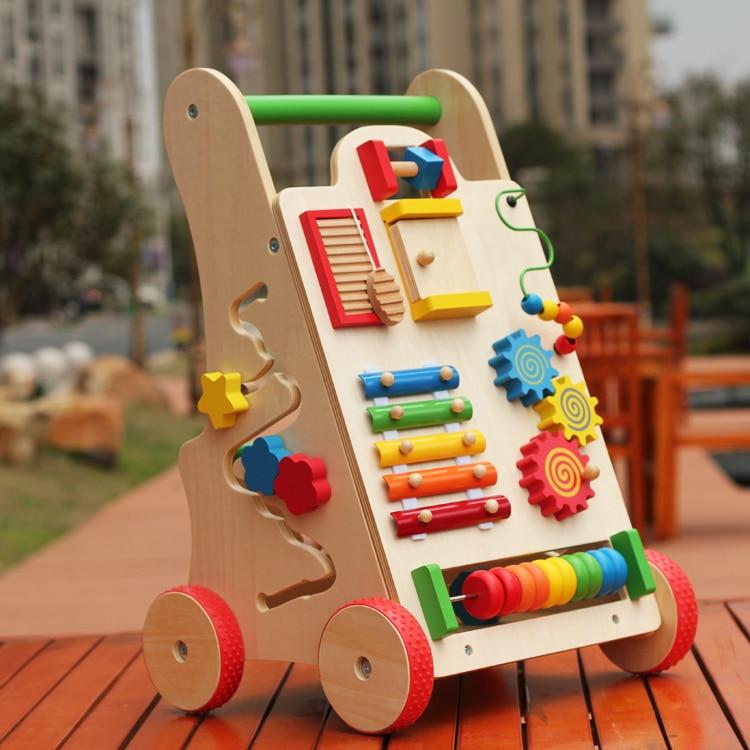 Multi-functional walkers children wooden toddler trolley toys walkers