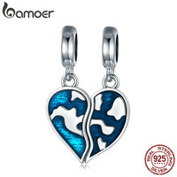 BAMOER Authentic 925 Sterling Silver Picture Of Earth Map Heart Charm Pendant Fit Charm Bracelet Necklace
