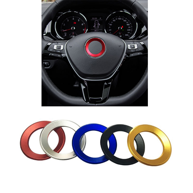 Car Styling Steering Wheel Logo Emblem Ring <font><b>Sticker</b></font> for <font><b>VW</b></font> Passat B6 B7 3C POLO GOLF 6 7 MK6 Tiguan <font><b>Touran</b></font> Scirocco 2011-2016 image