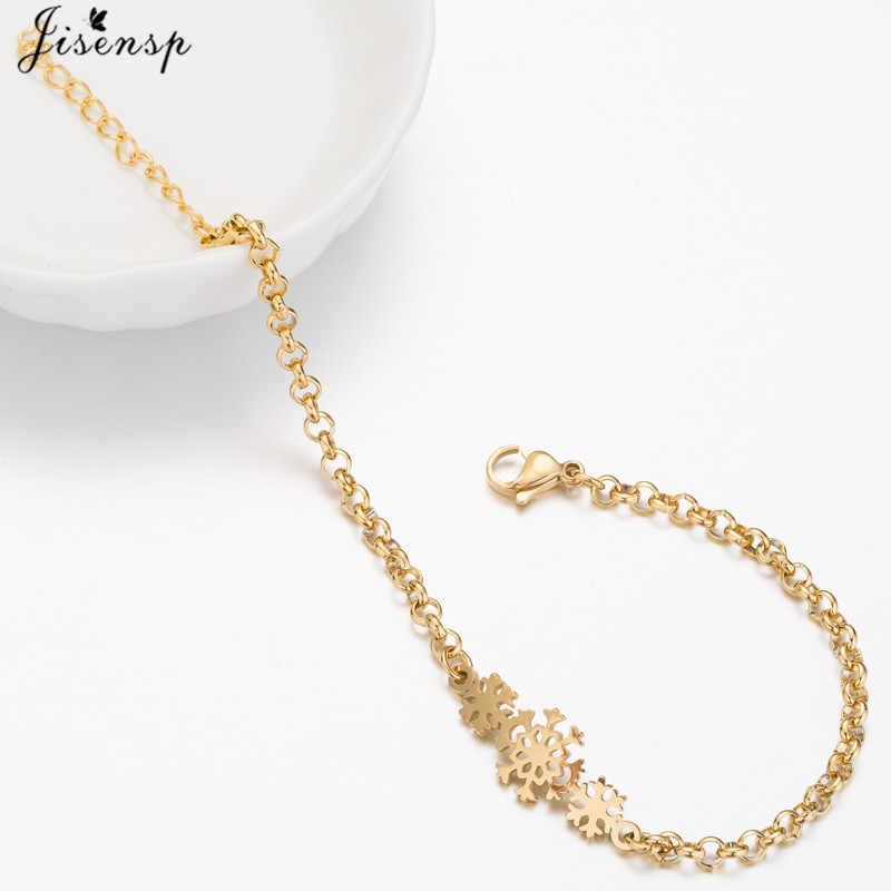 Jisensp модные Снежинка цветок браслеты для женщин Новогоднее украшение в подарок Регулируемая цепочка-браслет и жесткий браслет Feminina