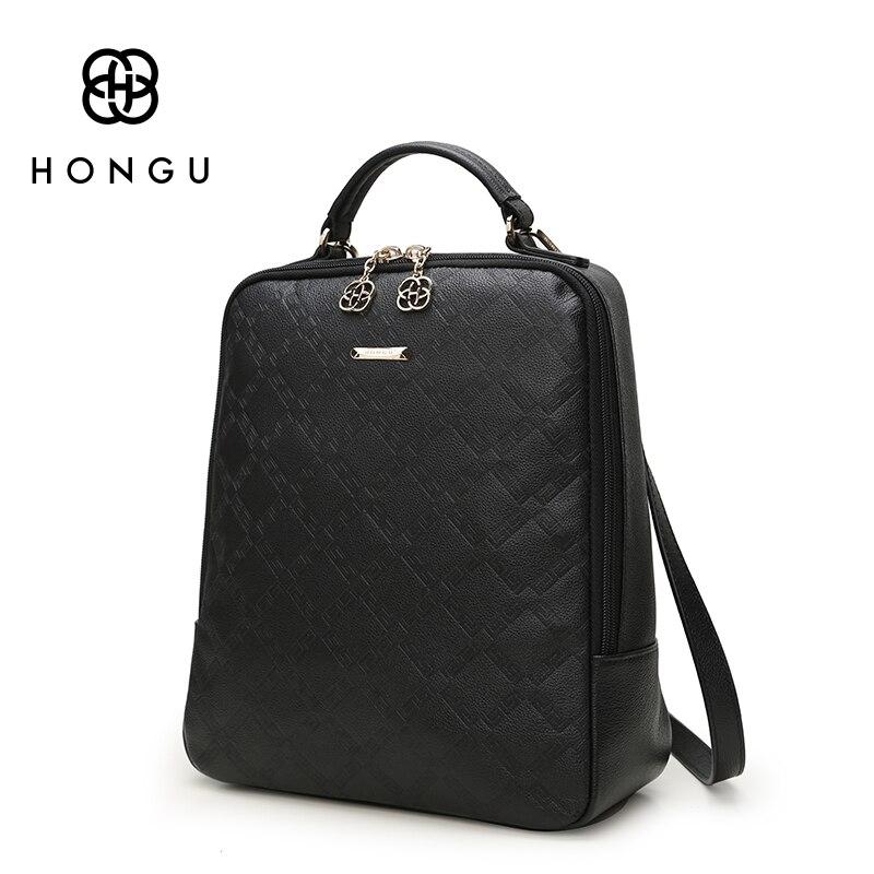 HONGU Famous Brands Women Backpack Ladies Shoulder Bags Fashion Leisure Upscale Genuine Leathe Bag For College Casual Versatile