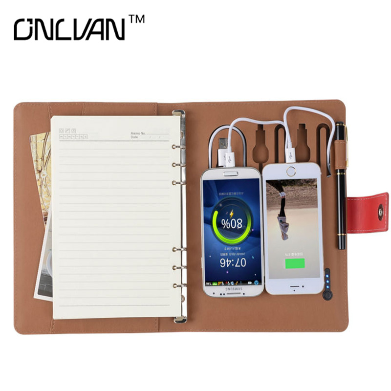 ONLVAN Business Notebook A5 with 6000mah Power Bank Spiral Composition Book Stationery AccessariesTravelers' Notebook for Gift gift republic ltd fungi a5 notebook multicoloured