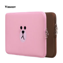 Vmonv Cartoon Soft Laptop Bag Case for Macbook Air 11 13 Pro Retina 13 15 Inch Embroidery Liner Sleeve Cover for IPAD Macbook(China)