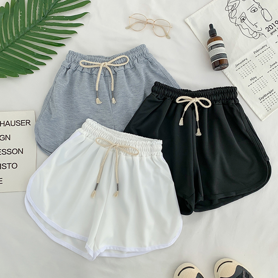 Lace Up Casual Summer Shorts Women Simple Elastic Slim Straight Shorts Ladies Fashion Beach High Waist Black White Shorts Female