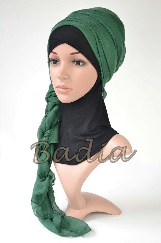 10 шт./партия, хиджаб, шарф для женщин, Блестящий мерцающий вуаль, вискоза, твердый хиджабы кашне в мусульманском стиле шали из фуляра, палантин, ислам