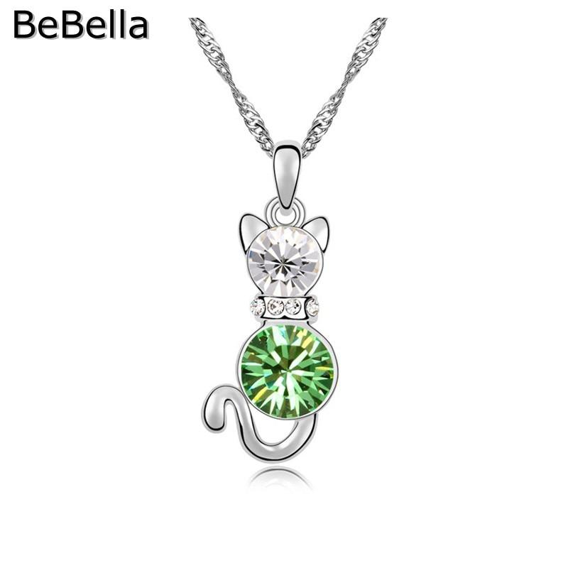 BeBella кристалл кошка кулон ожерелье сделано с чешским кристаллом для женщин подарок - Окраска металла: Peridot