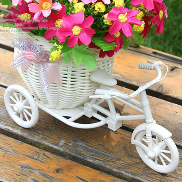 Plastic White Tricycle Bike Design Flower Basket Container For Flower Plant Home Weddding Decoration DIY