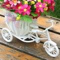 Moto Triciclo de plástico Branco Weddding Projeto Flor Cesta Recipiente Para Planta Flor Casa Decoração DIY