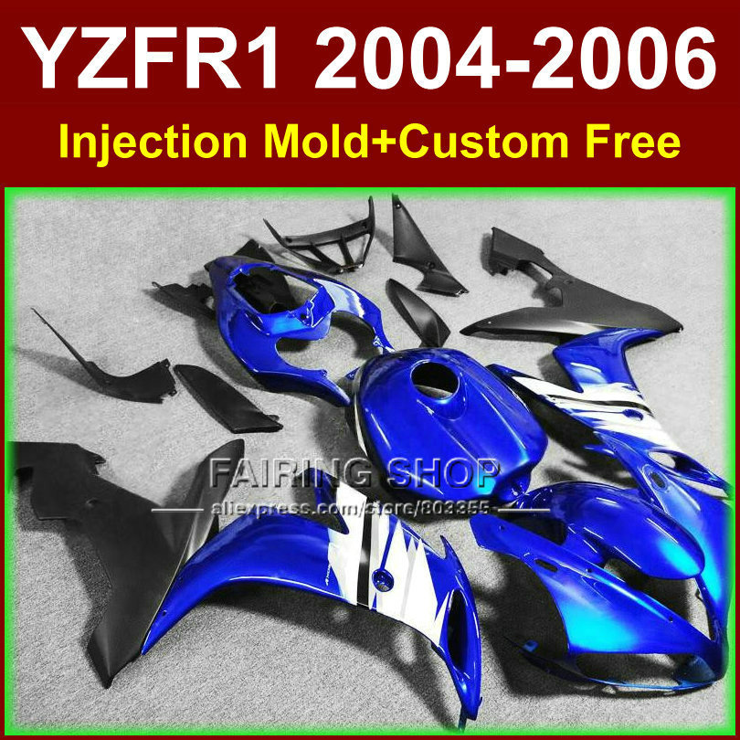 Custom paint Injection fairings kits for YAMAHA R1 2004 2005 2006 YZF R1 04 05 06 YZF1000 blue black motorcycle fairing bodywork custom road fairing kits for suzuki glossy flat black 2006 gsxr 1000 k5 2005 gsx r1000 06 05 motorcycle fairings kit