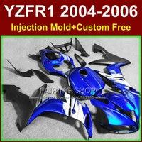 Custom paint Injection fairings kits for YAMAHA R1 2004 2005 2006 YZF R1 04 05 06 YZF1000 blue black motorcycle fairing bodywork