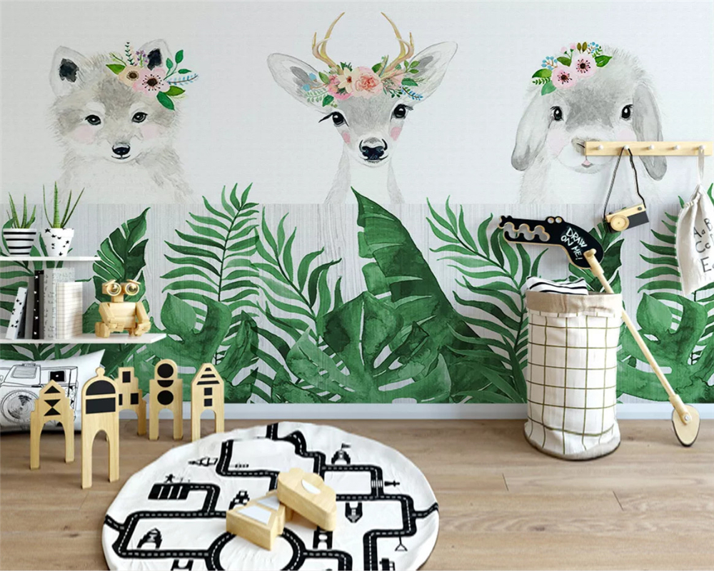 Beibehang Custom Modern Wallpaper Animal Elephant Bear Squirrel Penguin Children Room Background Papel De Parede Wall Papers
