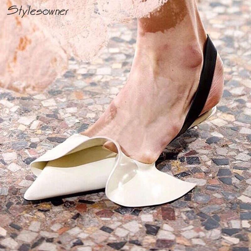Stylesowner 2018 New Fashion Retro Ruffles Slip On Heels Pumps Summer Shallow Mouth Shoes Pointed Toe Chic Sexy Wedding Pumps
