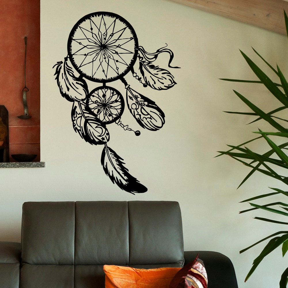 Dreamcatcher wall sticker vinyl home decor decals feathers night dreamcatcher wall sticker vinyl home decor decals feathers night symbol indian stickers bedroom livingroom art design interior in wall stickers from home amipublicfo Gallery