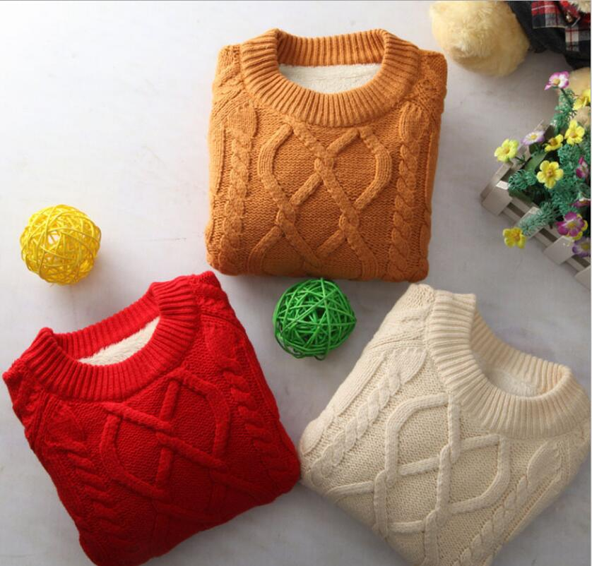 Thickening Round collar With velvet Long Sleeve Pullover Knitted Clothes Cotton Warm Sweater Elastic force Soft
