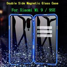 Флип Магнитная адсорбции чехол для телефона для Xiaomi mi 9 SE металла Coque 360 Полное покрытие mi 9 Двусторонняя Стекло противоударный Fundas