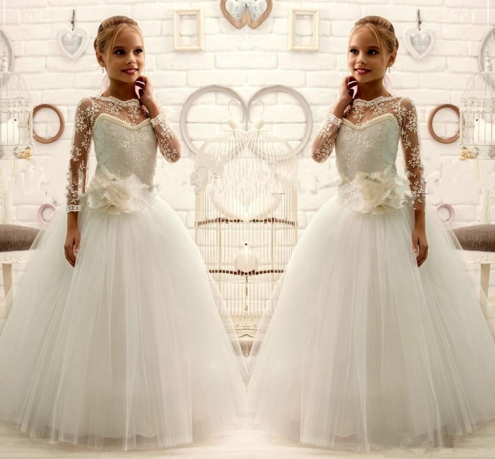 2018 Ivory WHITE Lace Beaded Long Sleeves Flower Girl Dresses Tulle ...