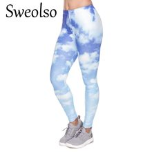 ff513709245aa Sweolso High Elastic Fitness Legging Trousers Leggings Women Pants New 3D  blue sky white cloud printing Breathable Legings Pant
