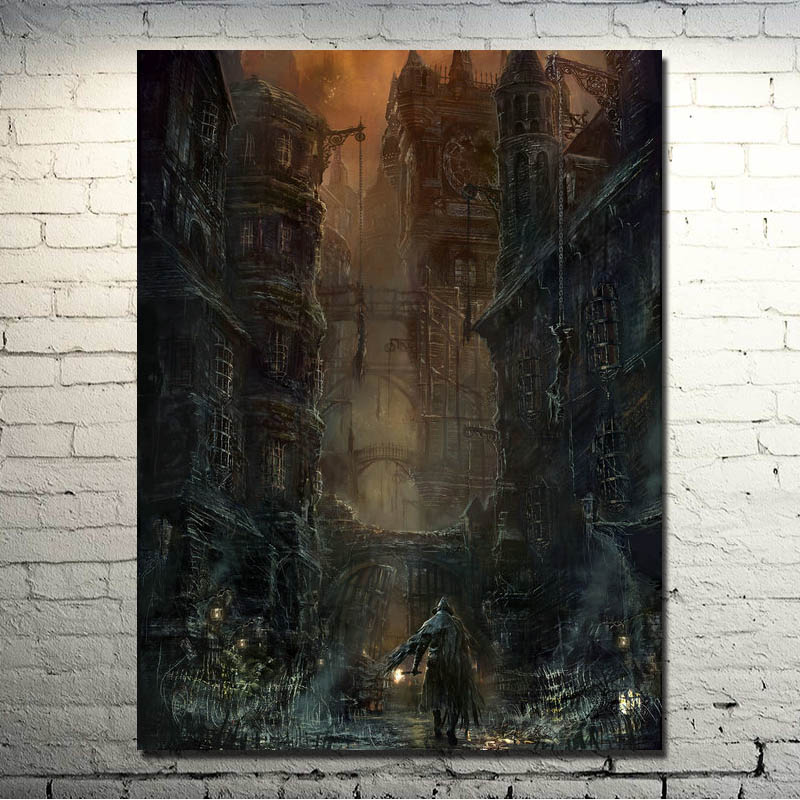 Bloodborne Art Silk Fabric Poster Print 13x18 24x32inch Game Picture For Living Room Decoration 010